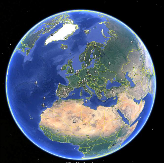 Figure 1: Brewer Spectrophotometers European Network of the EUBREWNET project